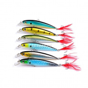 New Lot 6pcs Minnows Black Hook Paint Fishing Lures Crank Bait Tackle Minnow 13.9g/11cm Fishing Tackle