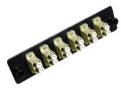 RiteAV LC Adapter Panel, 6 Ports, Loaded w/6 LC Duplex Multimode Adapters, Black