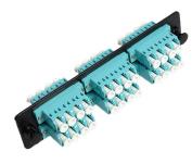 RiteAV LC Adapter Panel, 6 Ports, Loaded w/6 LC Quad OM3 10Gig Duplex Multimode Adapters, Black