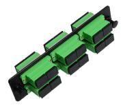 RiteAV SC Adapter Panel, 6 Ports, Loaded w/6 SC Duplex Singlemode APC Adapters, Black