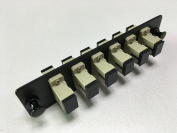 RiteAV SC Adapter Panel, 6 Ports, Loaded w/6 SC Simplex Singlemode Adapters, Black