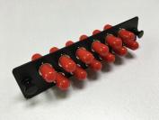 RiteAV ST Adapter Panel, 12 Ports, Loaded w/12 ST Simplex Multimode Adapters, Black