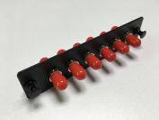 RiteAV ST Adapter Panel, 6 Ports, Loaded w/6 ST Simplex Multimode Adapters, Black