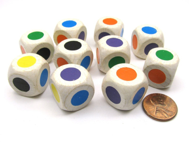 10 Pack Single Spot 18mm Wooden Dice-Colours: Purp Blue Orange Green Yellow Black