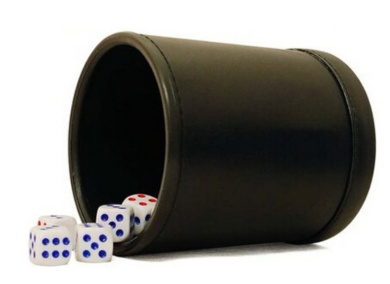 PU Leather Dice Cup Set with 6 Poker Dice (Black, Pack of 1)