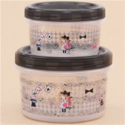 cute round stackable black Alice in Wonderland Bento Box 2pcs from Japan