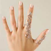 Happy Hours - Women's Jewellery Adjustable Plating Rose Rings / Multiple Finger Stack Knuckle Band Hollow Bling Ring Crystal Set