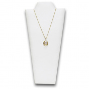4 pf White Faux Leather Covered Padded Wood Necklace Display With Easel 11cm W x 23cm H