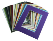 Mat Board Centre, Pack of 20, 8x10 MIXED colours White Core Picture Mats Mattes Matting for 5x7 Photo