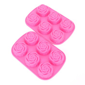 Fasmov 6 Cavity Rose Shape Silicone Mould for Homemade Soap, Cake, Cupcake, Bread, Muffin and More,Set of 2