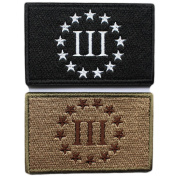 Bundle 2 pieces - Three Percenter Tactical Morale Patch with hook and loop backing Multitan Black white Decorative Embroidered Badge appliques 5.1cm high by 8.1cm wide