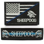 2pcs Bundle - Sheepdog police law enforcement thin blue line Tactical Morale Patch with Velcro backing Decorative Embroidered Badge