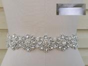 Crystal Pearl Wedding Dress Sash Belt in White Sheer Organza Sash = 46cm Long