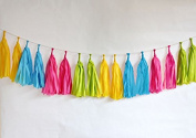 UMISSDECOR Mixed Colours Blue Green Yellow Cerise Paper Tassels Garlands Banner as Party Decor