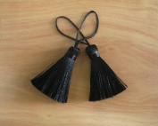 Black Tassel Silk Dangle Trim Fringe Jewellery Making Craft Supply Pillow Case Embellishments 2 Pieces