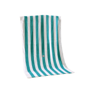 100% Cotton Cabana Striped Beach Towel Caribbean Blue and White (80cm x 150cm )—Soft, Quick Dry, Lightweight, Absorbent, and Plush