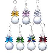 H & D 7pcs Clear Crystal Ball Pendant Hanging Suncatcher Handcrafts Christmas Glass Ornaments