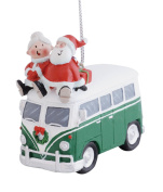 Santa and Mrs. Claus Riding on Top of Vw Bus Christmas Holiday Ornament