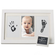 PRECIOUS BABY HANDPRINT and Footprint Frame Kit - Baby Prints Photo Keepsake in White with Non-Toxic Ink Pad - Quality Wood Frame With Safe Acrylic Glass - Great Baby Gift For Baby Registry