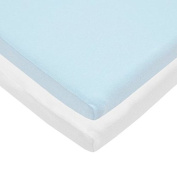 Pindaboo Cradle Fitted Sheet Blue & White