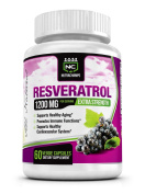 NutraChamps Resveratrol 1200mg Extra Strength - Best 100% Natural Formula for Maximum Anti-Ageing, Immune System Support & Heart Health - 60 Capsules Enriched with Green Tea, Acai, & Grape Seed Extract