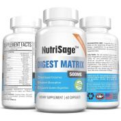 Digestive Enzyme Dietary Supplement By NutriSage - 500mg - Powerful Plant Based Enzymes - Supports Gastrointestinal Tract Health & Nutrient Absorption - Relieves Bloating - Made In USA - 60 Capsules