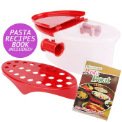 Hot Pasta Boat   Versatile Microwave Pasta Cooker Vegetable Steamer Boat Strainer with Recipe Book   Sturdy Food Grade Heat Resistant PP Material   Effortless Usage Anti Mess No Stick Colander   Massive Capacity Up To 2.3kg   Vibrant Red