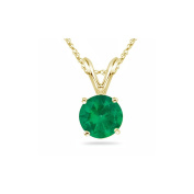 0.20-0.30 Cts of 4 mm AA Round Natural Emerald Solitaire Pendant in 14K Yellow Gold