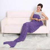 "LAGHCAT Knitted Fabric Mermaid Blanket and Mermaid tail Blanket crochet with Scales Pattern Adult/children, Sleeping Bags.74.86""x35.46""(190CMX90CM)Purple"