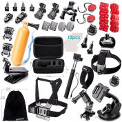 Zookki Accessories Kit for GoPro Hero 5 4 3+ 3 2 1 Black Silver SJ4000 SJ5000 SJ6000, Sports Camera Accessories Set for Xiaomi Yi/WiMiUS/Lightdow/DBPOWER/ dOvOb