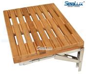 SeaLux Wall Mount Folding Shower Teak Bench in Teak Board for Boat, Shower Room