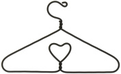 Too Adorable Tiny Dollhouse Size Black Metal Hanger with Heart Design- Package of 4