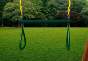 Swing-N-Play 44cm Ring/Trapeze Bar Combo with Extra Long 110cm Heavy Duty Chain . Green/Yellow