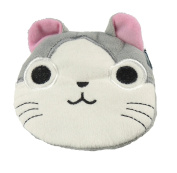 Adorable Soft Feel Plush Round Kitty Cat Kitten Face Coin Purse Wallet Key Chain Gift Idea For Girls