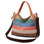 Moonsister Retro Fashion Striped Women Canvas Shoulder Bag Tote Bag, Multicolor Practical Large Handbag Crossbody Everyday Bag