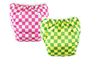 M & B 2pcs One Size Adjustable Printed Washable Baby Swimming Nappies