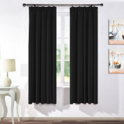 Thermal Insulated Pencil Pleat Curtains - PONYDANCE Solid Double Blackout Curtain Drapes for Bedroom / Window Treatments Drapery Panels Home Decoration, 120cm Width x 180cm Drop, Black