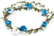 BFD One boho floral head garland flower headband bushy flowers turquoise and white