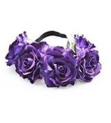 BFD One boho floral head garland flower headband floral headdress wedding festival large purple flowers on elastic