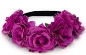 BFD One boho floral head garland flower headband floral headdress wedding festival large light plum coloured flowers on elastic