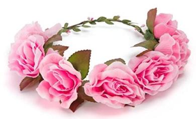 BFD One boho floral head garland flower headband floral headdress wedding festival (large pink flowers)
