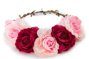 BFD One boho floral head garland flower headband large flowers pink and red