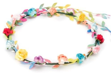 BFD One boho floral head garland flower headband floral headdress wedding festival (multi coloured flowers and leaves)