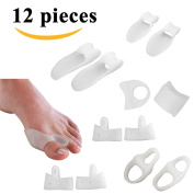 Sumifun 12Pcs Bunion Splint Big Toe Separator, Overlapping Spreader Bunion Splint Big Toe Separator, Overlapping Spreader Corrector, Bunion Adjuster Hallux Valgus Alignment and Bunion Pain Therapeutic Relief Relaxing for Feet Health Care