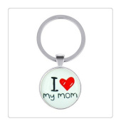 """""""I love my mom"""" Art Picture Chain key ring Fashion Glass Cabochon key ring"""
