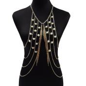 lureme® Golden Crossover Harness Fringe Vest Sexy Bikini Body Chain Jewellery