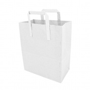Large White Takeaway Carrier With Handles, Paper Bag x 100