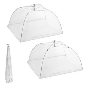 SupplyEU Set of 2 Large Pop-Up Mesh Screen Umbrella Food Cover Net Tents Reusable and Folding 41cm for Picnic/BBQ - Keep Out Flies, Bugs, Mosquitos -