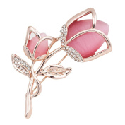 Uniqueen Women Vintage Jewellery Cat Eye Opal Pink Rose Brooches Pin with Swaroski Element Crystal Cheap