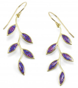 Gold Plated Sterling Silver Olive Leaf Drop Earrings Handmade Polymer Clay Jewellery
